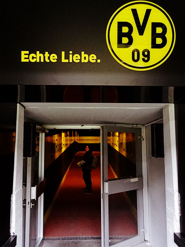 View of player tunnel. According to our guide it's the narrowest player tunnel in Bundesliga. Purposely left small to create a sense of togetherness