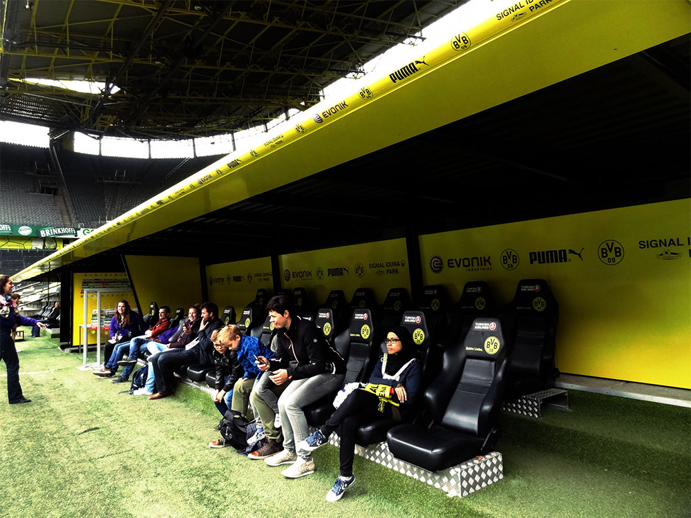 Player bench which I swear have the comfiest chair. No wonder they always look so comfortable sitting there